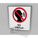 20x20cm / no gritar / señal / letrero / protección civil / curvo / fondo blanco