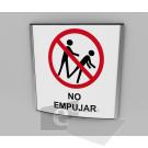 20x20cm / no empujar / señal / letrero / protección civil / curvo / fondo blanco