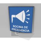 20x20cm / bocina de emergencia / señal / letrero / protección civil / curvo / blanco con fondo azul