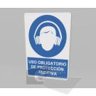 20x30cm / uso obligatorio de protección auditiva / letrero / protección civil / azul fondo blanco