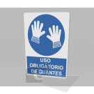 20x30cm / uso obligatorio de guantes / señal / letrero / protección civil / azul fondo blanco