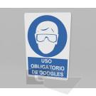 33.33 x 50 cm / uso obligatorio de googles / señal / letrero / protección civil / azul fondo blanco