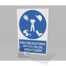 33.33 x 50 cm / uso obligatorio de equipo de protección / señal / letrero / protección civil / azul fondo blanco