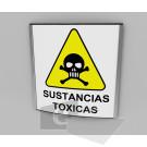 20x20cm / Sustancias toxicas / señal / letrero / protección civil / curvo / amarillo fondo blanco