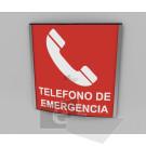 20x20cm / telefono de emeregencia / señal / letrero / protección civil / curvo / rojo