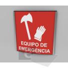 15x15cm / equipo de emergencia / señal / letrero / protección civil / curvo / rojo