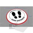 75 x 75 cm/ área para fumar / señal / letrero / protección civil / vinyl